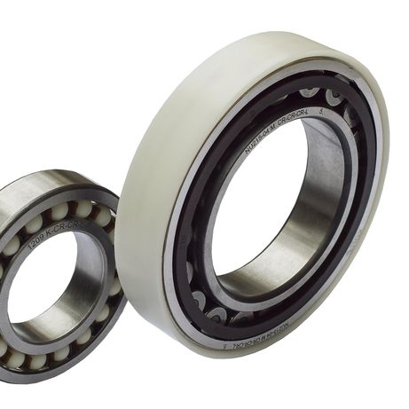 iCROSS bearing with outer ring/rolling barrels or ball bearings made of Lauramid