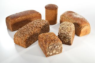 Variety of breads in tin mould