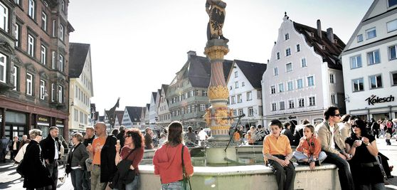 Fountain in the marketplace in the city of Biberach
