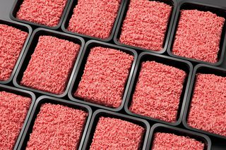 Minced meat in trays