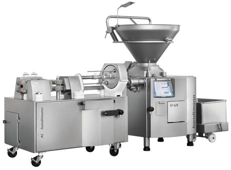 Inline grinding system integrated into AL system for sausages