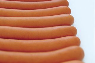 Cooked sausages with equal lengths